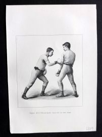 Badminton Library 1893 Antique Boxing Print. Right Hand Lead Off at the Body